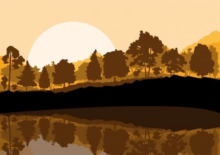 Wild mountain forest nature landscape scene background illustration vector Stock Vector - 19181807