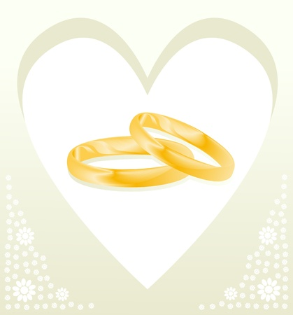 Couple of gold wedding rings vector background card or poster Vector