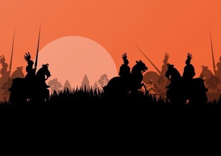 horseman: Medieval jinete siluetas caballero a caballo en campo de batalla la guerra de ilustraci�n de fondo vector
