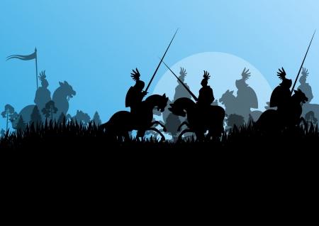 uomo a cavallo: Cavaliere medievale cavaliere sagome a cavallo in battaglia campale guerra illustrazione vettoriale sfondo