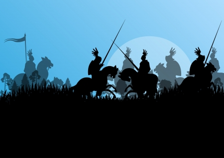 medieval sword: Medieval knight horseman silhouettes riding in battle field warfare illustration background vector