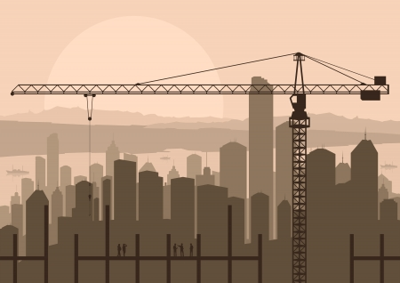 building site: Industrial skyscraper city and construction site crane with building engineers in landscape skyline background illustration vector