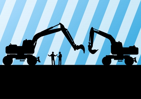 digger: Excavator tractors detailed silhouettes illustration in construction site mining background vector