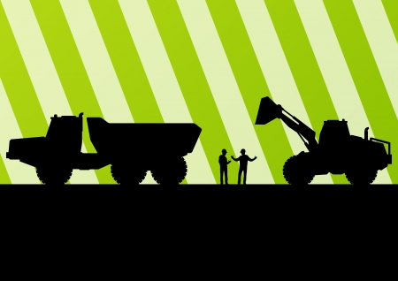 scoop: Excavator tractors detailed silhouettes illustration in construction site mining background vector