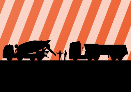 Heavy duty concrete making trucks and tractors in highway roadway construction site landscape illustration background vector Vector