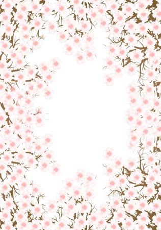 fleur cerisier: Cherry blossom vecteur branche fond pour l'affiche Illustration
