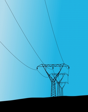 transmission line: High voltage tower and line background vector for poster