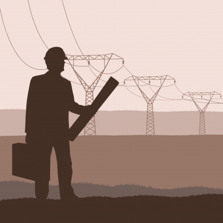 powerline: High voltage tower and line background vector for poster