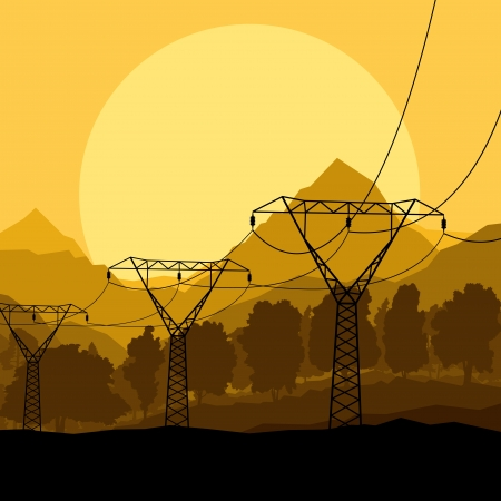 High voltage tower and line background vector for poster Vector