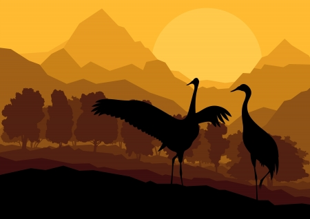 mating: Crane couple in wild mountain nature landscape background illustration vector Illustration