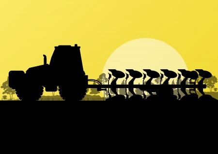tillage: Agricultura tractor arando la tierra cultivada en el pa�s campos paisaje de fondo ilustraci�n vectorial