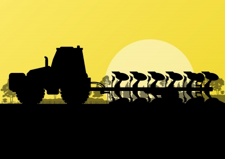 farm machinery: Agriculture tractor plowing land in cultivated country fields landscape background illustration vector Illustration