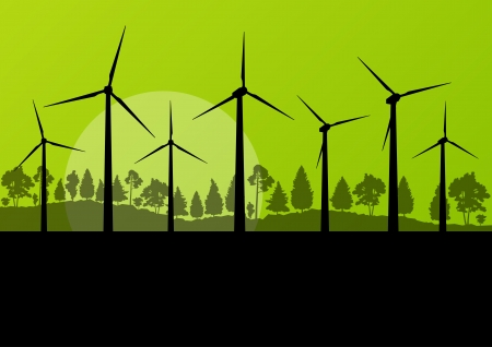 Green wind electricity generators grass ecology concept illustration background vector Vector