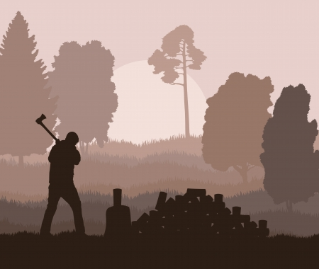 woodcutter: Lumberjack with axe vector background in nature for poster