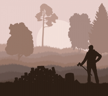 forestry industry: Lumberjack with axe vector background in nature for poster