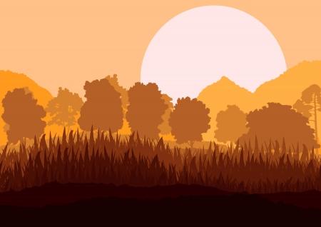 Wild mountain forest nature landscape scene background illustration vector for poster Stock Vector - 19181638