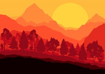 Wild mountain forest nature landscape scene background illustration vector for poster Stock Vector - 19181599