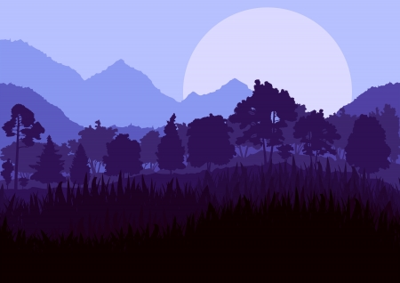 logger: Wild mountain forest nature landscape scene background illustration vector for poster