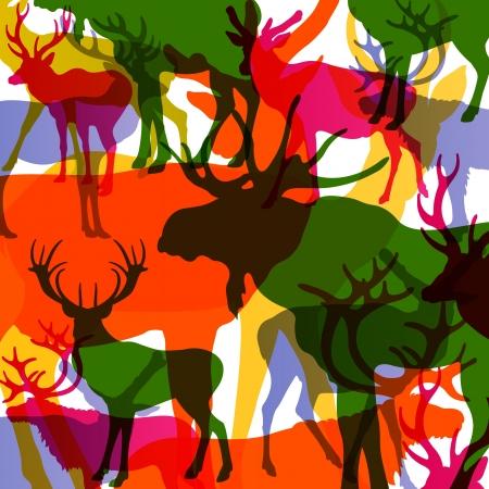 elk horn: Ciervos, alces y ovejas de monta�a animales con cuernos resumen ilustraci�n de fondo vector