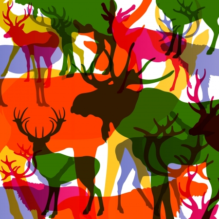 Deer, moose and mountain sheep horned animals abstract illustration background vector Vector