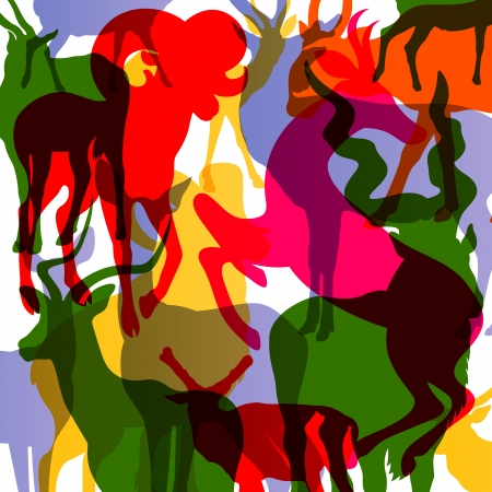 taxidermy: Deer, moose and mountain sheep horned animals abstract illustration background vector