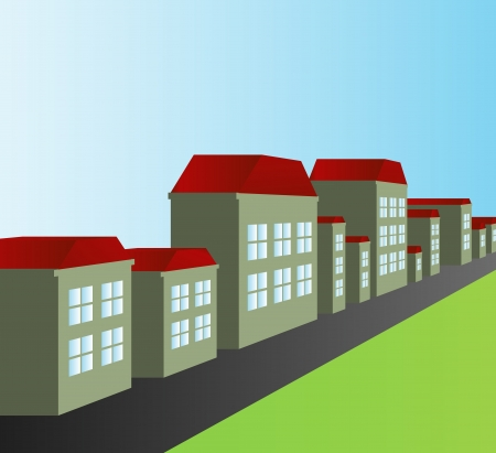 small town life: House vector background