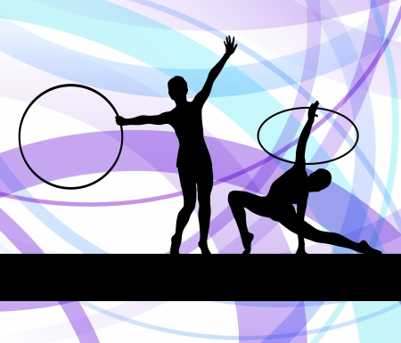 Rhythmic gymnastic background woman with hoop ring vector for poster Stock Vector - 19181215