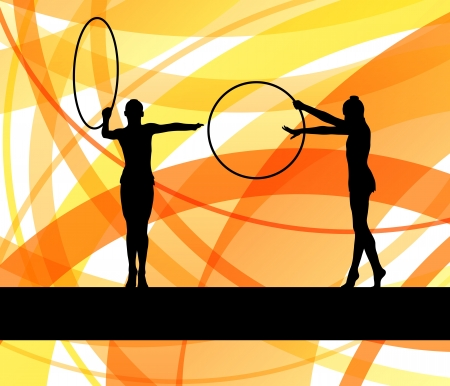 Rhythmic gymnastic background woman with hoop ring vector for poster