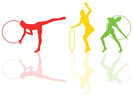 rhythmic gymnastic: Rhythmic gymnastic background woman with hoop ring vector for poster