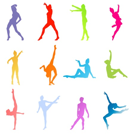 calisthenics: Gymnasts on a white background vector