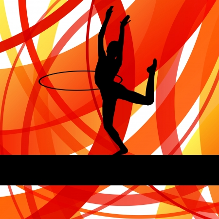 gymnastic girl: Rhythmic gymnastic background woman with hoop ring vector for poster