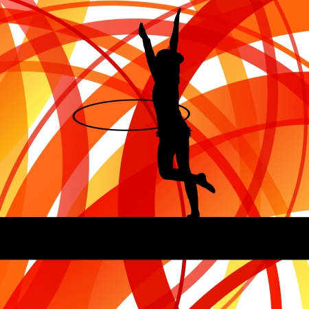 Rhythmic gymnastic background woman with hoop ring vector for poster Vector