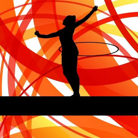 rhythmic gymnastic: Gimnasia r�tmica fondo mujer con el aro vector del anillo para el cartel Vectores