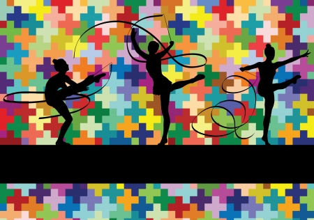 Young women doing calisthenics art gymnastics sport tricks with ribbon in abstract background illustration vector Stock Vector - 19181565