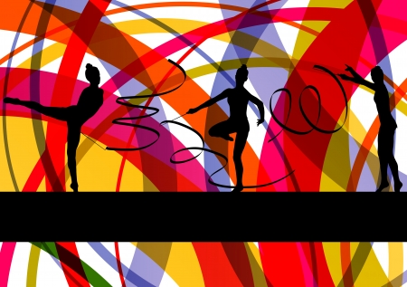 Young women doing calisthenics art gymnastics sport tricks with ribbon in abstract background illustration vector Stock Vector - 19181813