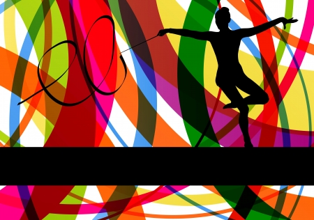 Young women doing calisthenics art gymnastics sport tricks with ribbon in abstract background illustration vector Vector