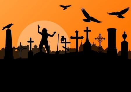 cemetery: Halloween background vector Illustration