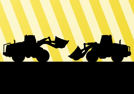bulldozer: Excavator and bulldozer detailed tractor silhouettes in construction site background illustration vector