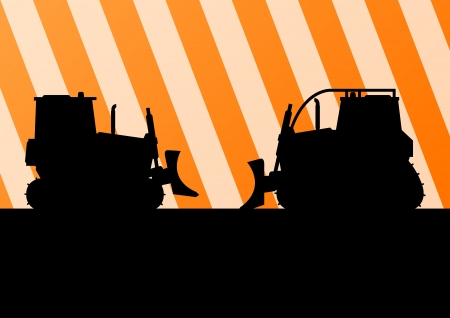 lift truck: Excavator and bulldozer detailed tractor silhouettes in construction site background illustration vector