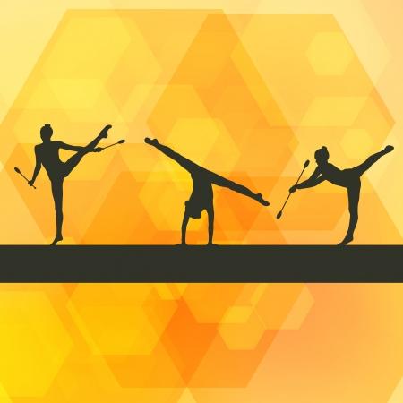 award background: Rhythmic Gymnastics woman with clubs vector background concept Illustration