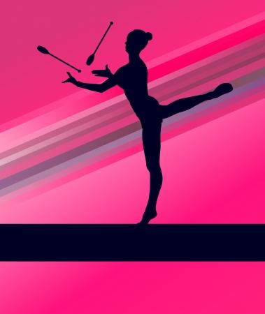 young gymnastics: Rhythmic Gymnastics woman with clubs vector background concept Illustration