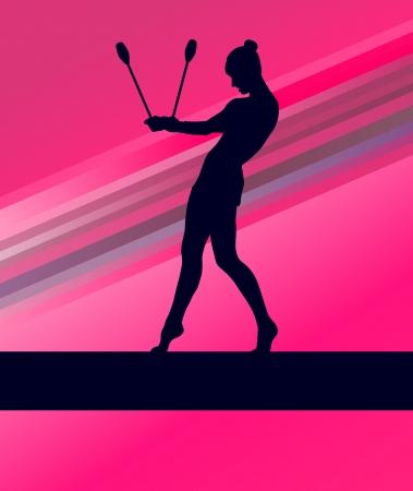 senior olympics: Rhythmic Gymnastics woman with clubs vector background concept Illustration