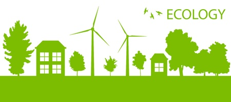 energy conservation: Green Eco city or village ecology vector background concept