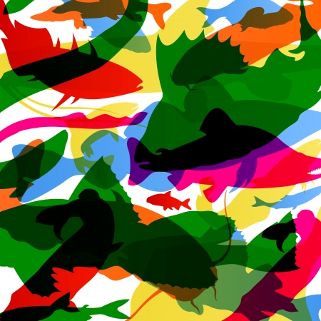 bass fish: Fish colorful abstract pattern background illustration vector Illustration