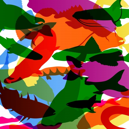swimming carp: Fish colorful abstract pattern background illustration vector Illustration