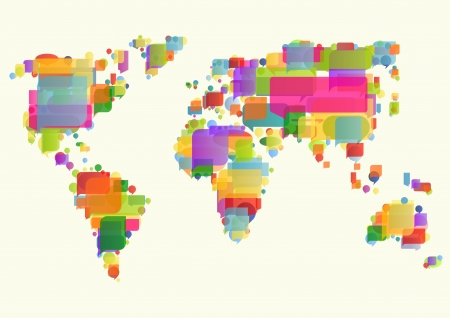 south east: World map made of colorful speech bubbles concept illustration background  Illustration