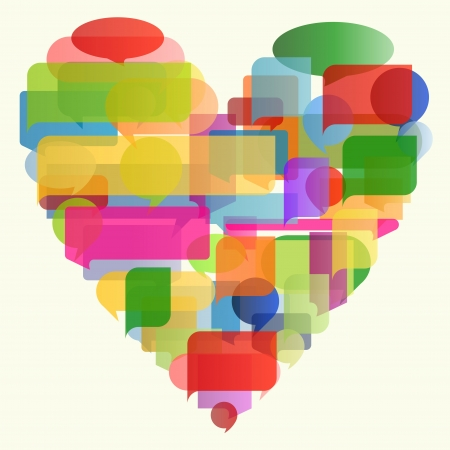 Heart made of colorful speech bubbles concept illustration background  Vector