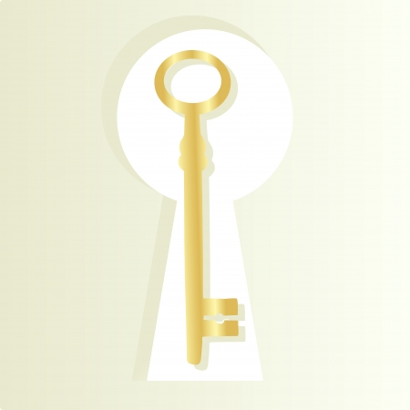 Golden key and keyhole background concept Vector