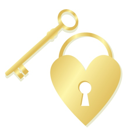 code lock: Golden heart padlock and key background concept