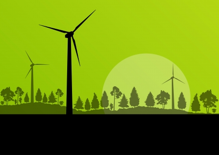 wind turbine: Wind electricity generators and windmills in countryside forest nature landscape ecology illustration background